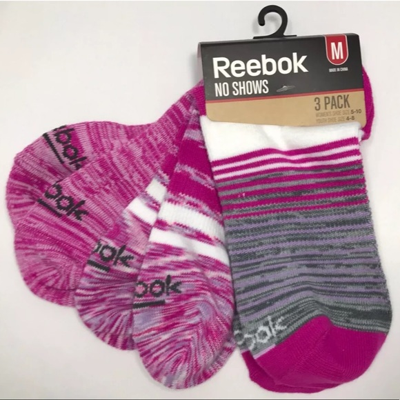 0059f9ec0822 Reebok NO SHOW Womens   Girls Socks Pink Striped